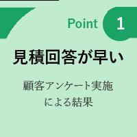 point1: 見積もり回答が早い 顧客アンケート実施による結果